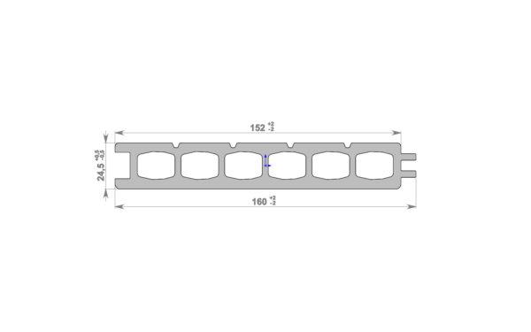 Террасная доска HOLZDORF 153x24,5 мм Импрэс, Тип 1